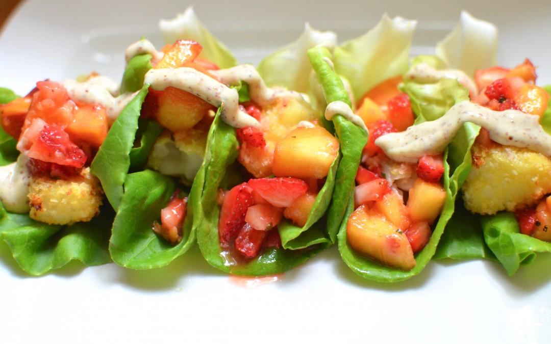 Cod Tacos with Peach Salsa