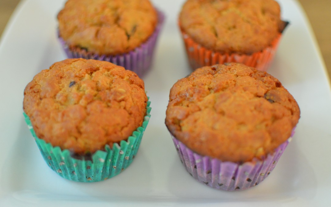 Whole Wheat Muffins with Oatmeal and Dark Chocolate Chips